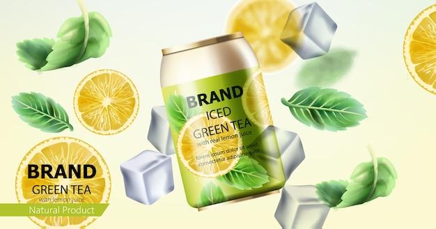 Composición de una lata de té verde helado vector gratuito