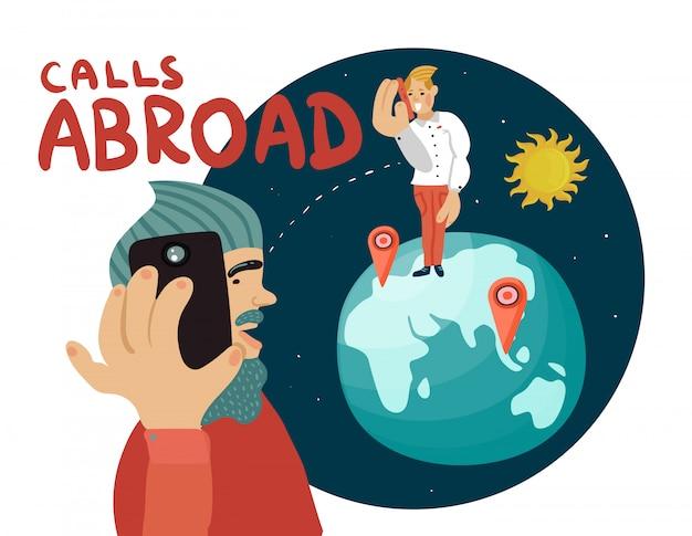 Composición de llamadas al extranjero vector gratuito