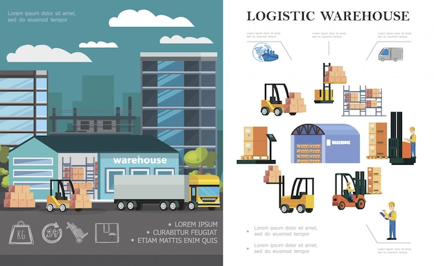 Composición logística de almacén plano con proceso de carga de camiones trabajadores de almacenamiento montacargas diferentes cajas y contenedores vector gratuito