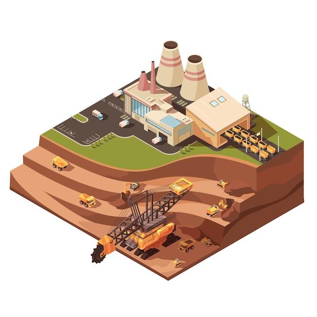 Composición minera con imágenes de edificios de fábrica. vector gratuito