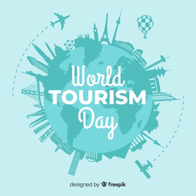 Composición moderna del día mundial del turismo con diseño plano vector gratuito