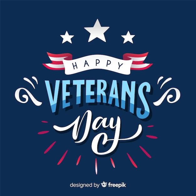 Composición moderna del día de los veteranos con diseño plano vector gratuito