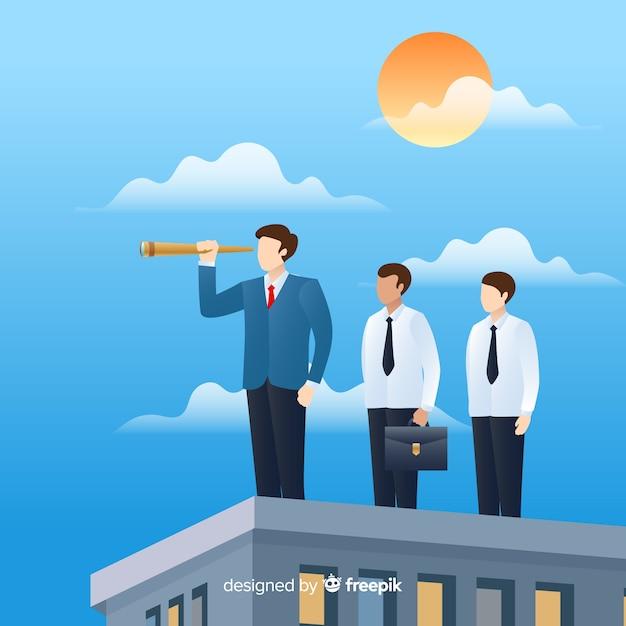 Composición moderna de liderazgo con diseño plano vector gratuito