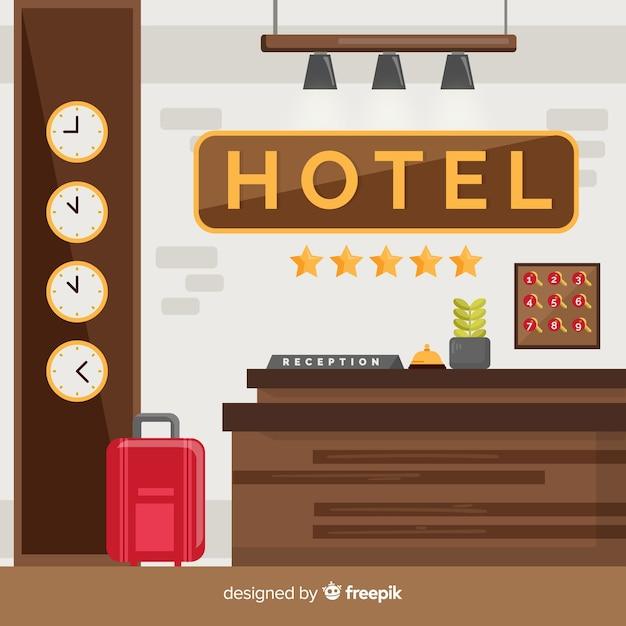 Composición moderna de recepción de hotel vector gratuito