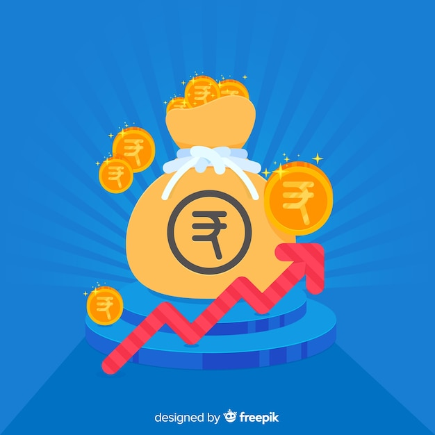 Composición moderna de rupias de la india vector gratuito