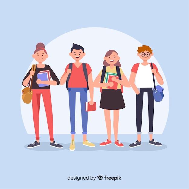 Composición moderna de vida de estudiante con diseño plano vector gratuito