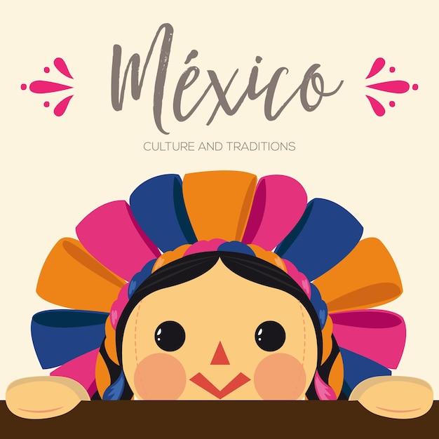 Composición de muñeca maría tradicional mexicana Vector Premium