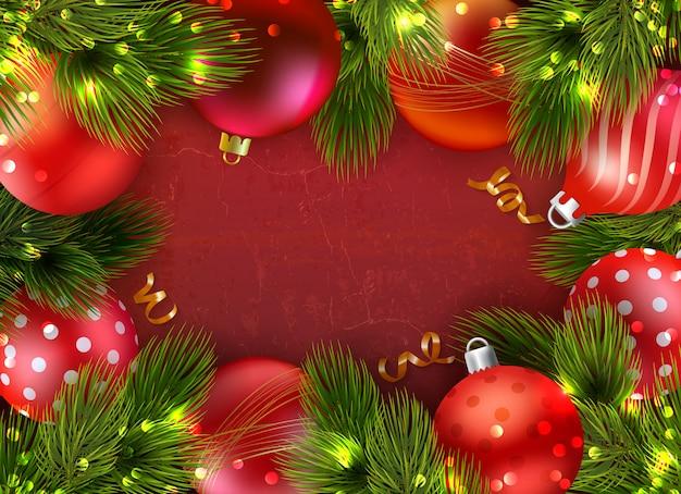 Composición navideña con aguja decorativa de abeto vector gratuito