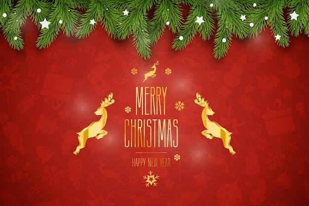 Composición navideña. deseos de vacaciones sobre fondo rojo. Vector Premium
