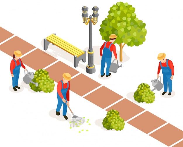Composición de obras de jardinería pública vector gratuito