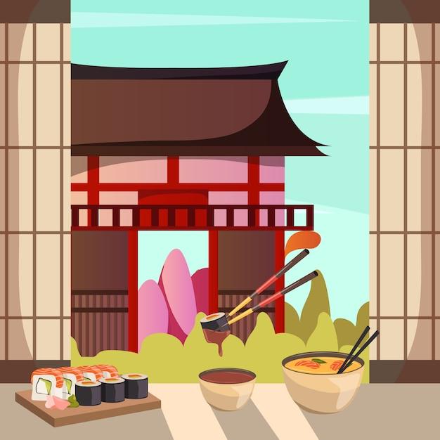 Composición ortogonal de la arquitectura de alimentos de japón vector gratuito