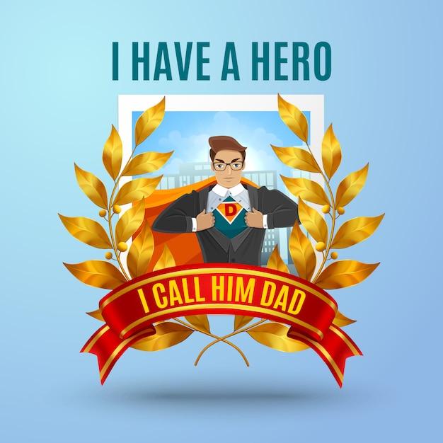 Composición de padre superhéroe vector gratuito