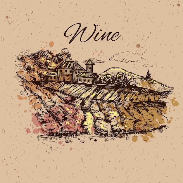Composición del paisaje de viñedo vector gratuito