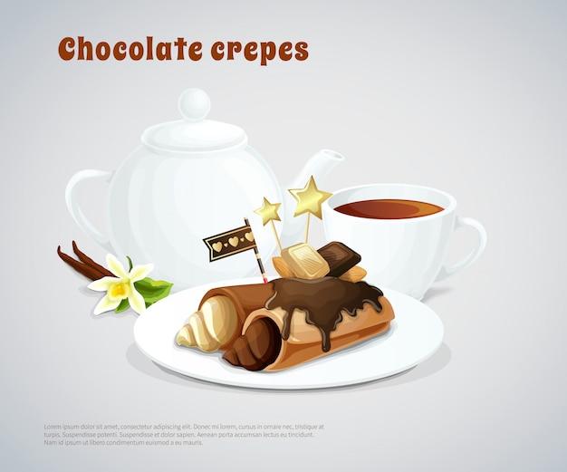 Composición de panqueques de chocolate vector gratuito