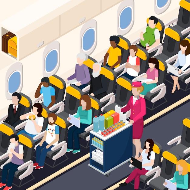 Composición de pasajeros de avión vector gratuito