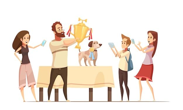 Composición del perro con la ilustración de vector de dibujos animados copa victoria y familia de dibujos animados vector gratuito