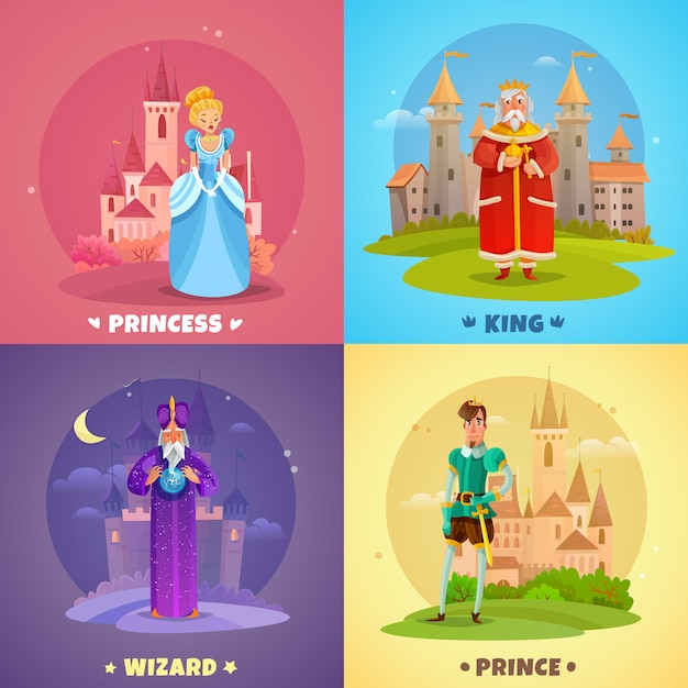 Composición de personajes de cuento de hadas vector gratuito