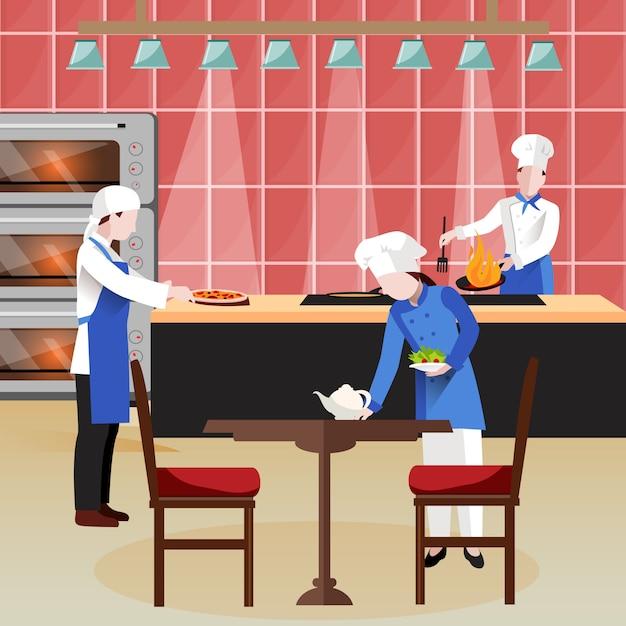 Composición de personas cocina plana vector gratuito