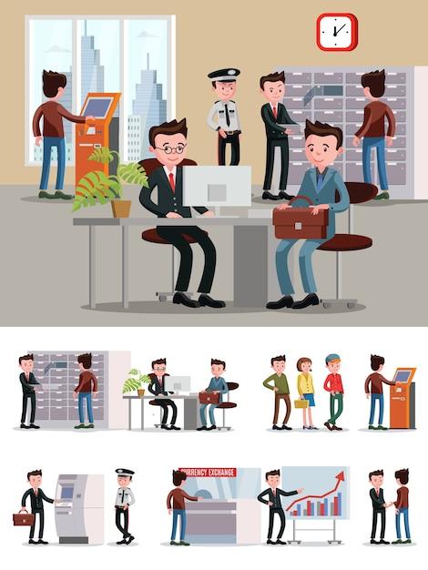Composición de personas de servicios financieros vector gratuito