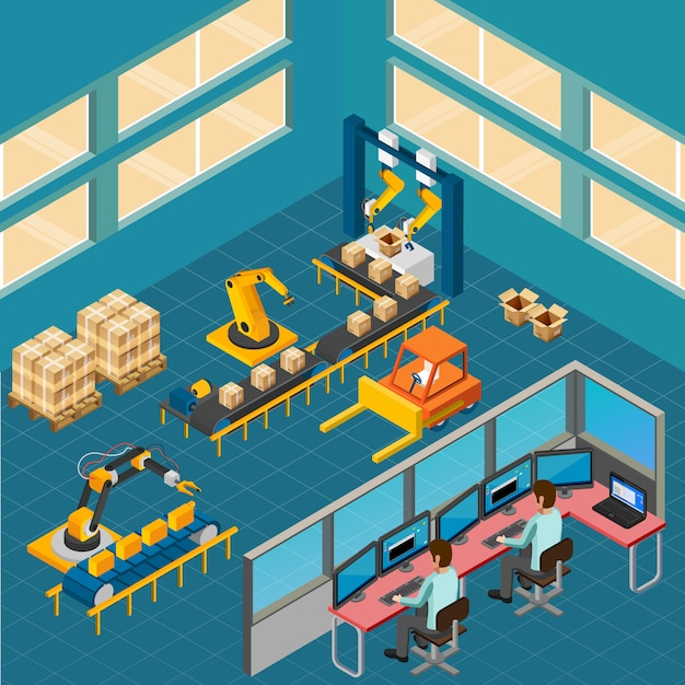 Composición de piso de taller industrial vector gratuito