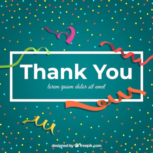 Composición plana de agradecimiento con confeti vector gratuito