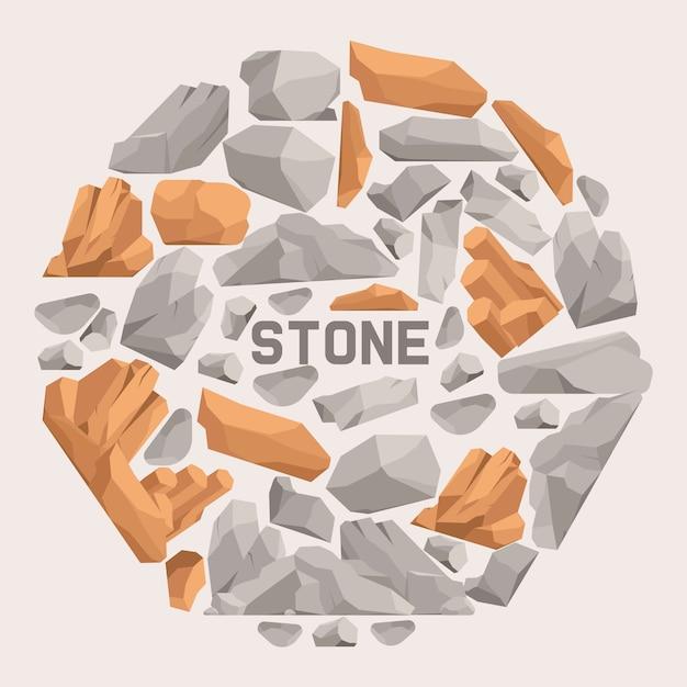 Composición plana de dibujos animados de piedras de roca. piedras y rocas en la ilustración isométrica del vector del estilo 3d. conjunto de cantos rodados de diferente forma y color. Vector Premium