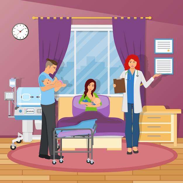Composición plana del hospital de maternidad vector gratuito