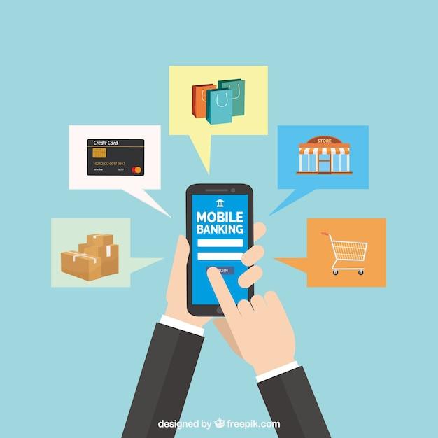 Composición plana con pagos y móvil vector gratuito