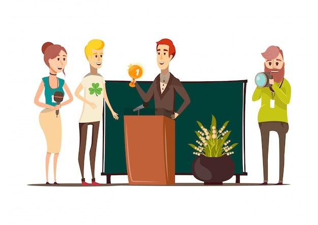 Composición plana de situaciones afortunadas con el ganador del premio detrás del podio fotógrafo reportero y periodista doodle estilo personajes vector ilustración vector gratuito