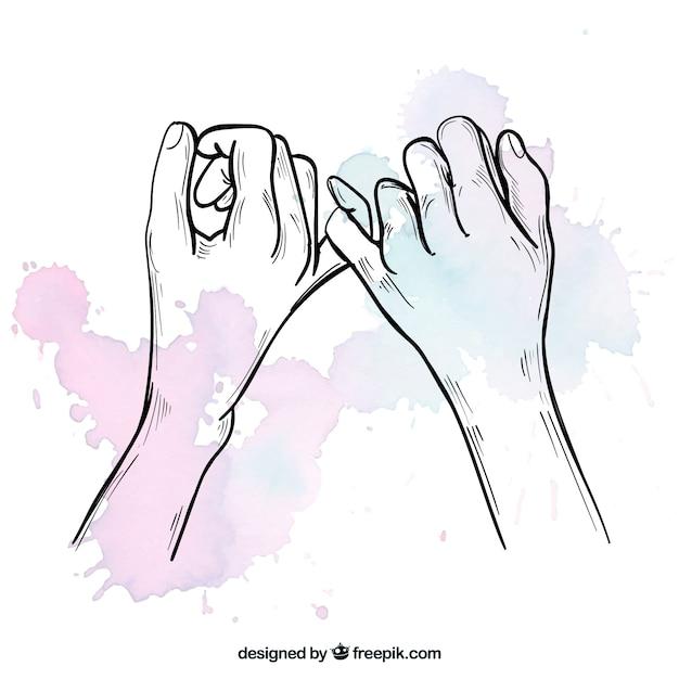 Composición de promesa de meñique dibujada a mano vector gratuito