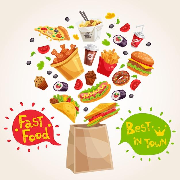 Composición de publicidad de comida rápida vector gratuito