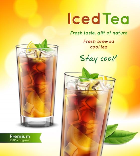Composición de publicidad realista de paquete de té helado con vasos llenos hojas de menta limón promoviendo texto ilustración vectorial vector gratuito