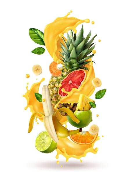 Composición de ráfaga de jugo de ftuiys realista con imágenes de aerosol y frutas tropicales maduras en blanco vector gratuito