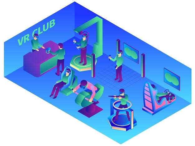 Composición de realidad virtual isométrica con vista interior del vr computer club con dispositivos portátiles y atracciones ilustración vectorial vector gratuito