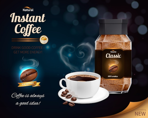 Composición realista de café instantáneo vector gratuito