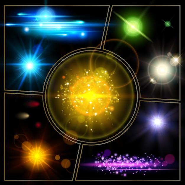 Composición realista de efectos de luz con puntos brillantes de estrellas iluminadas, brillantes, brillantes y efectos de luz solar vector gratuito
