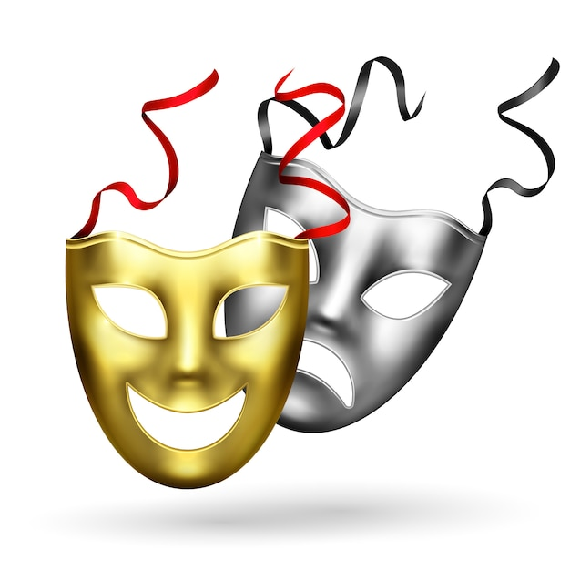 Composición realista de máscaras doradas vector gratuito