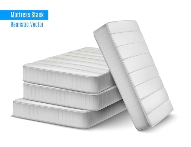Composición realista de pila de colchón con pila de colchones blancos para dormir de alta calidad con ilustración de texto editable vector gratuito