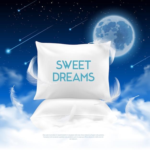 Composición realista de sueño nocturno vector gratuito