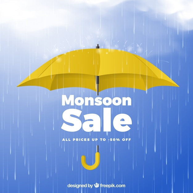 Composición de rebajas de la época del monzón con diseño realista Vector Premium