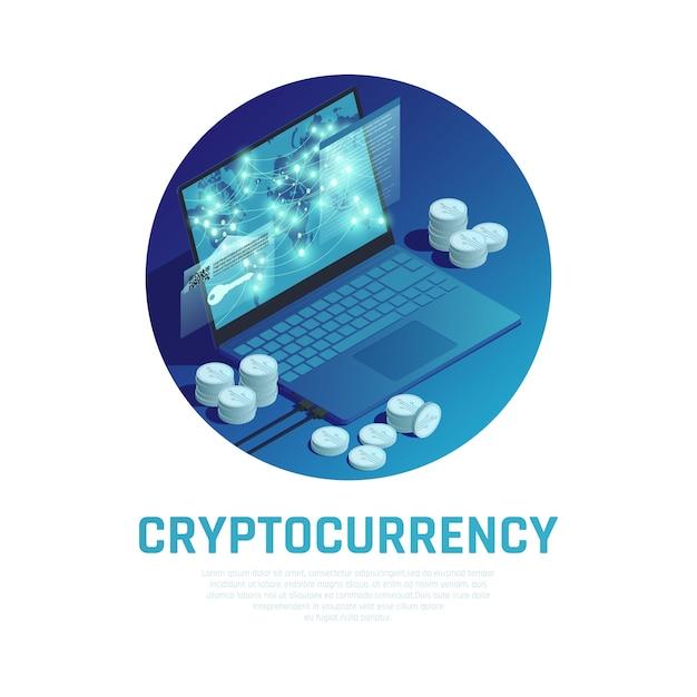Composición redonda azul de criptomonedas con pilas de bitcoin y tecnología blockchain en la pantalla del portátil vector gratuito