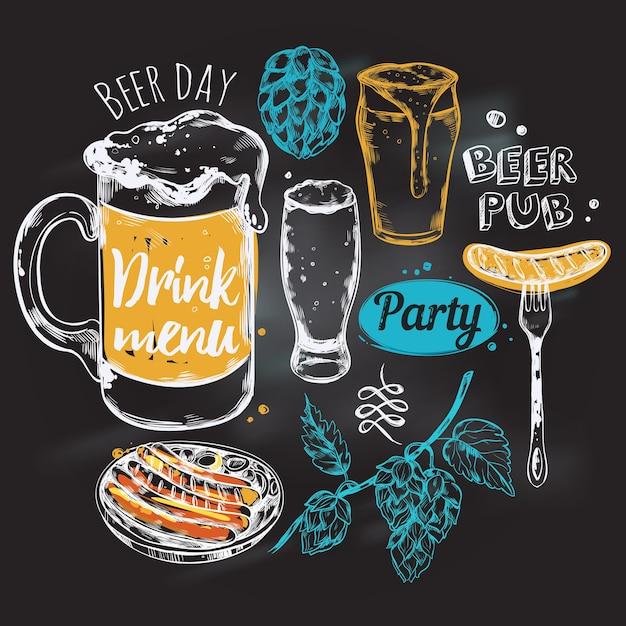 Composición redonda de cerveza de dibujo vector gratuito
