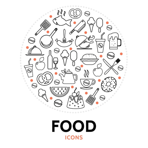 Composición redonda con elementos alimenticios vector gratuito