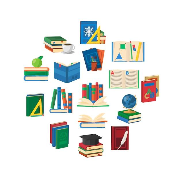 Composición redonda de libros escolares vector gratuito