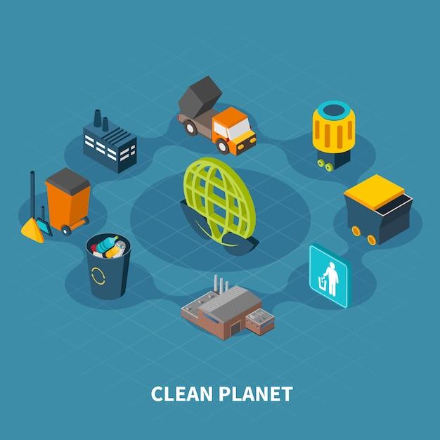 Composición redonda de planeta limpio vector gratuito
