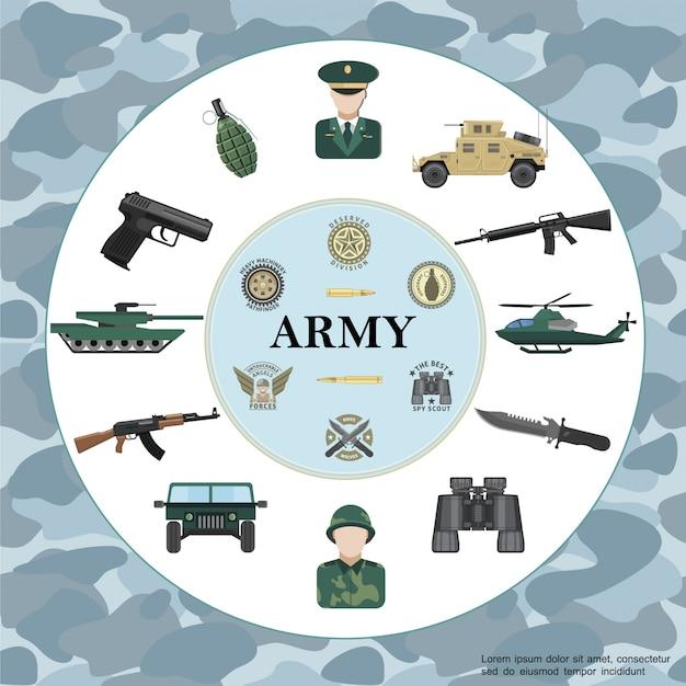 Composición redonda redonda del ejército con oficial soldado carro blindado tanque helicóptero arma binoculares granada insignias militares en camuflaje vector gratuito