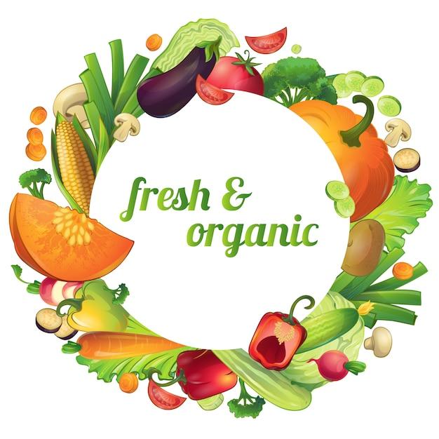 Composición redonda de verduras maduras frescas y orgánicas con círculo de símbolos y texto editable vector gratuito