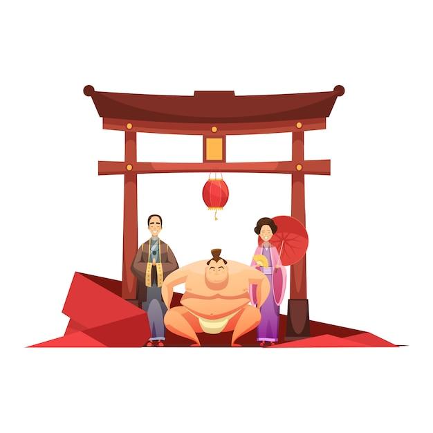 Composición retro de la cultura japonesa con luchador de sumo de pagoda y en kimono pareja vestida vector gratuito