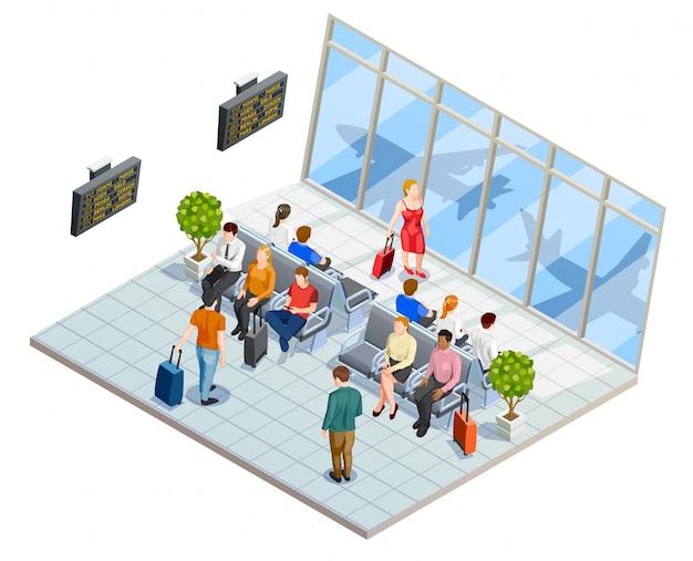 Composición de la sala de espera del aeropuerto vector gratuito