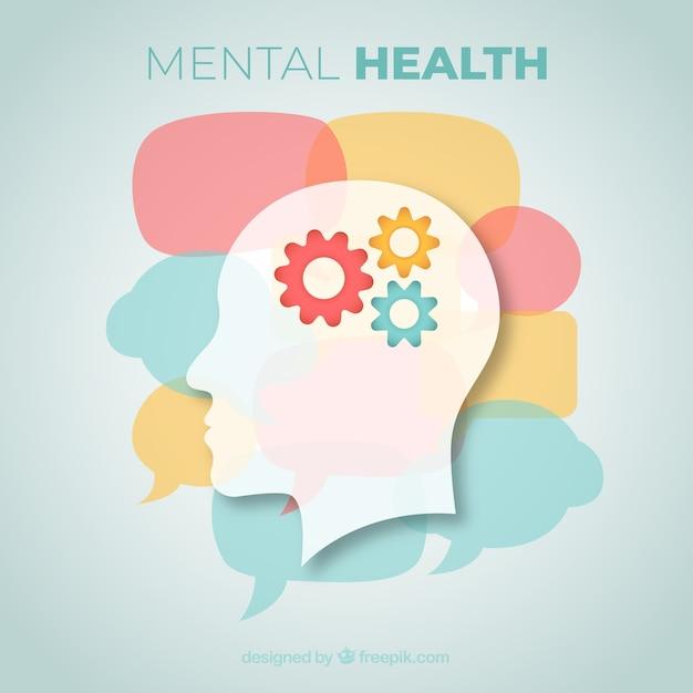 Composición de salud mental con diseño plano Vector Premium